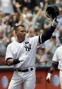 Alex Rodriguez takes a curtain call after hitting his 600th career home run.